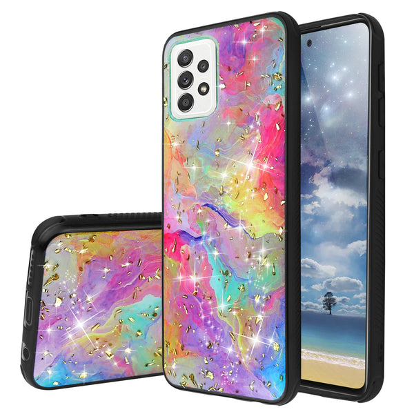 "TJS ""Minerva"" Glitter TPU Phone Case for Samsung Galaxy A52 5G - Rainbow"