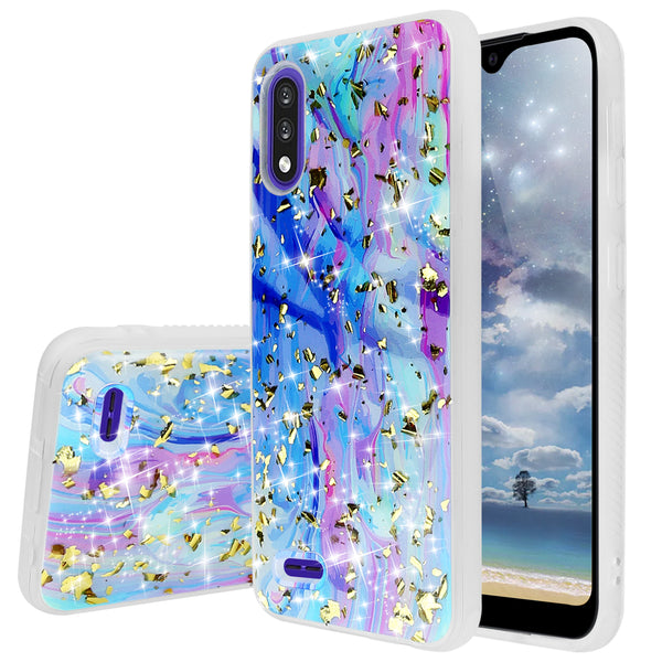 "TJS ""Minerva"" Glitter TPU Phone Case for LG K22, LG K22+, LG K32 - Colorful Galaxy"