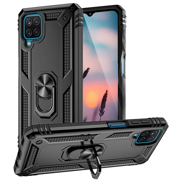 "TJS ""DuoGuard"" Ring Kickstand Phone Case for Samsung Galaxy A12"