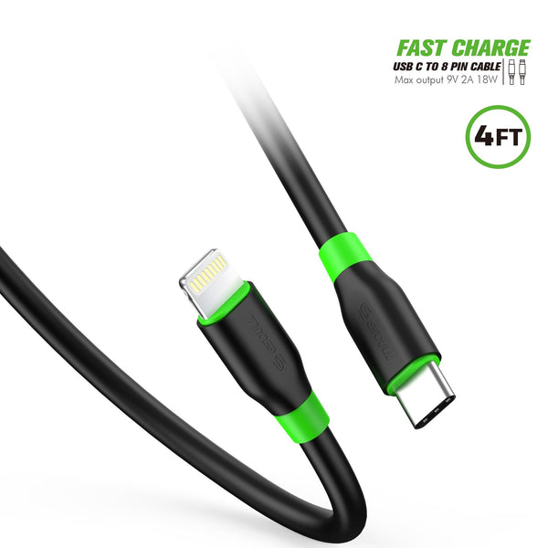 ESOULK 4ft/1.2m PD Fast Charge USB-C To Lightning Cable TPE Material (Max Output 9V 2A 18W)