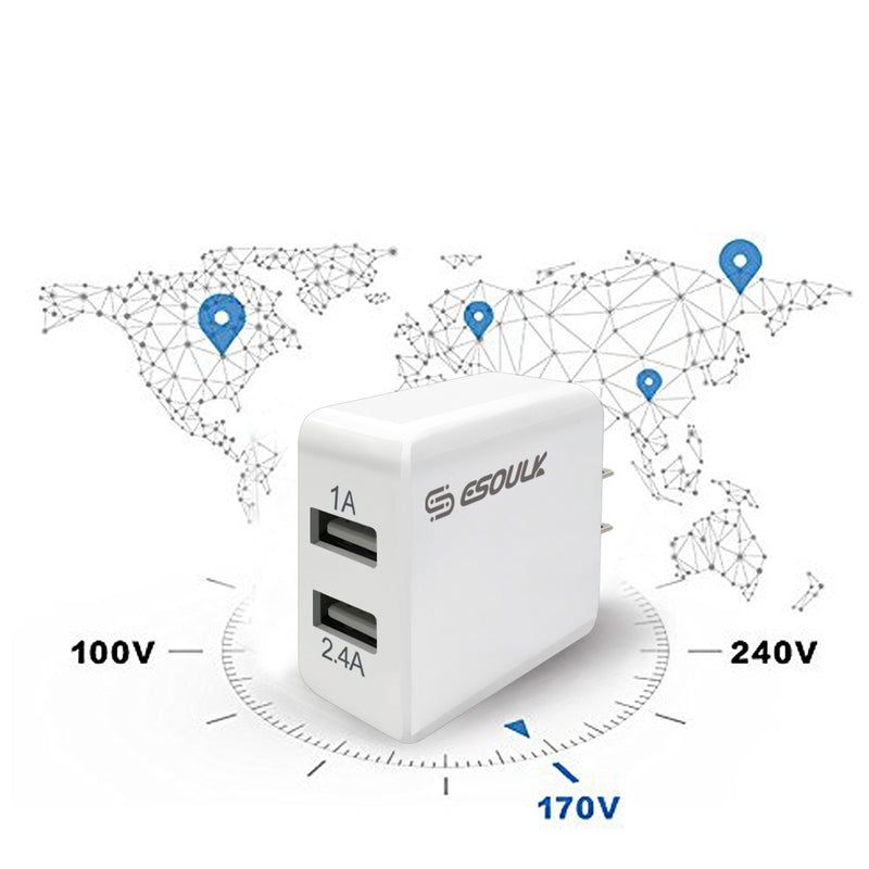 ESOULK 12W 2.4A Dual USB Travel Wall Charger with 5ft USB to USB-C Charging Cable