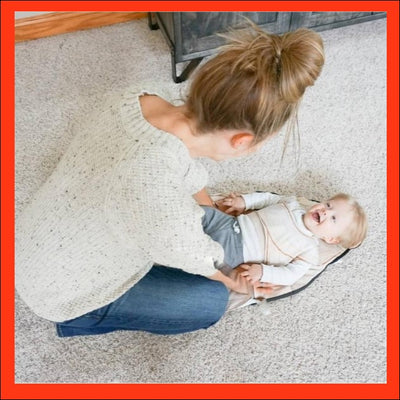 Happy toddler customer review image in The Wriggler portable changing mat at nappy changing time