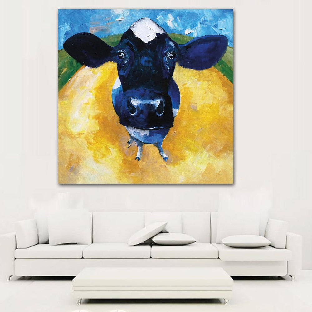 Paintings printed on canvas Painting Color Cow Picture – Teemon Store