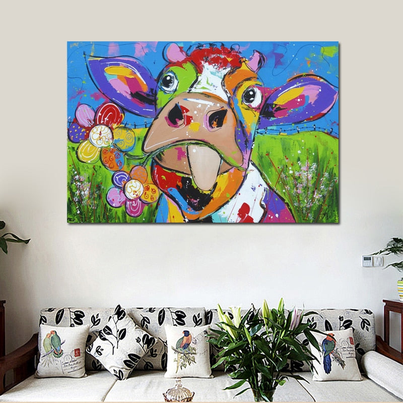 Cow With Flower Poster Print Canvas Art Painting For Living Room U2013 Teemon  Store