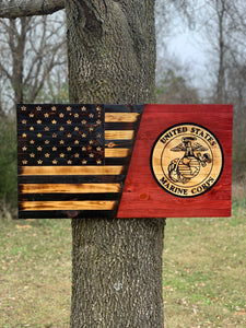 11e07e5b30aa United States Marine Corps and half American rustic wooden flag sign ...