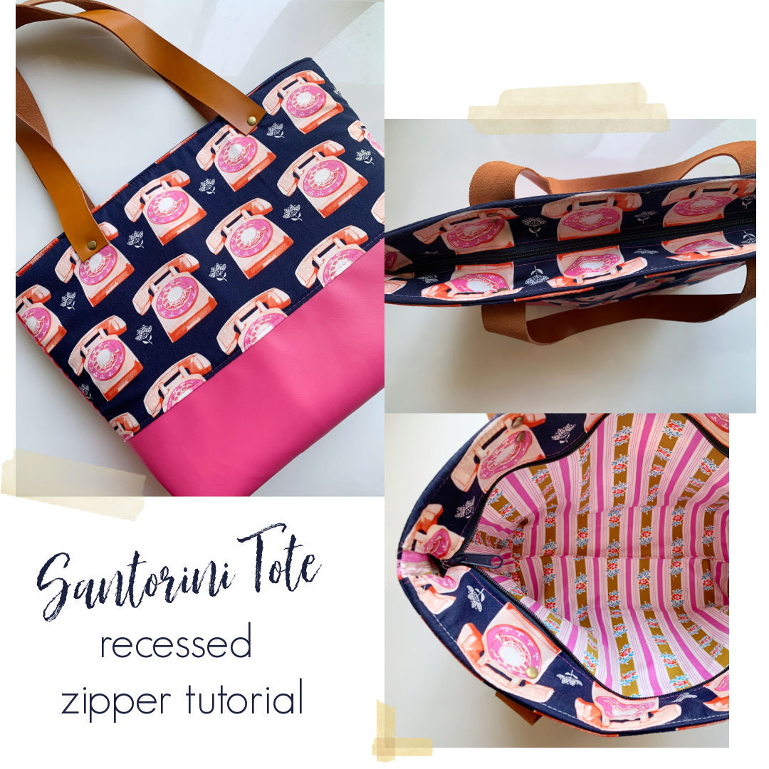 Santorini Tote recessed zipper tutorial