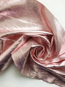 pink crackle metallic vinyl faux leather