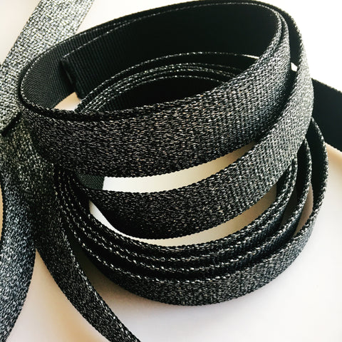 Glitter Webbing Black 5 yd bundle