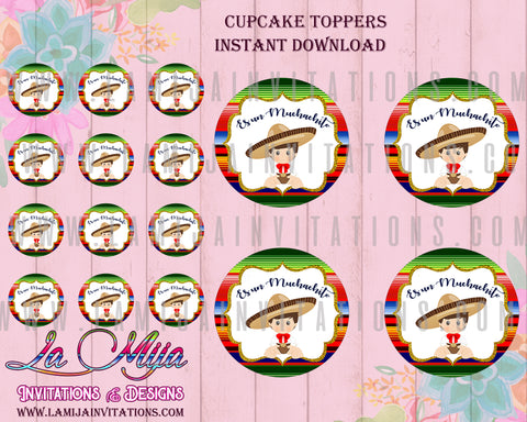 Charro Cupcake Toppers, Customized Item, Instant Download, Baby Fiesta Digital Toppers
