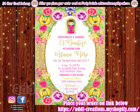 Virgencita Invitations, Virgencita Baptism Invitations, Virgencita Baptism Ideas, Virgen Invitations, Invitaciones Virgencita - Addi Creations