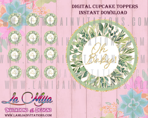 Baby Shower Cupcake Toppers, Csutomized Item, Eycalyptus Baby Shower Theme Invites, Eucalyptus Baby Shower Toppers, Greenery Baby Shower Invites, Cupcake Toppers