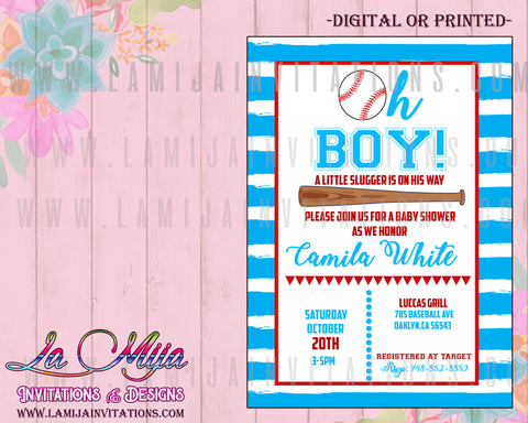 Baseball Baby Shower Invitations,Customized Item,  Boy Baseball Shower Invite, Baseball Invitations, Baseball Baby Shower Theme