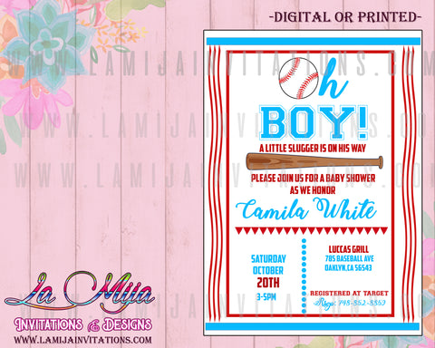Baseball Baby Shower Invitations, Customized Item, Boy Baby Shower Invitations, Baseball Theme Baby Shower Invites, Baseball Baby Shower