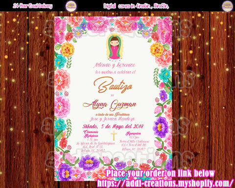 Virgencita Invitations, Virgencita Baptism Invitations, Mexican Baptism Invitations, Mexican Baptism Theme, Bautizo Tema Mexicano, Invitaciones Bautizo Mexicano,Virgencita Invitations,  Invitaciones Bautizo, Baptism Spanish Invitations - Addi Creations