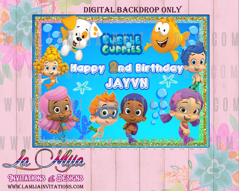 Bubble Guppies Backdrop,Customized Item,  Bubble Guppies Party Theme, Bubble Guppies Digital Backdrop,Bubbles Guppies Birthday Theme