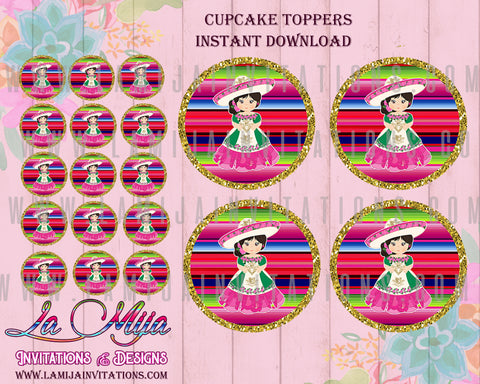 Charra Party, Customized Item, Charra Cupcake Toppers, Charra Birthday, Charra Quinceanera, Charra Bridal