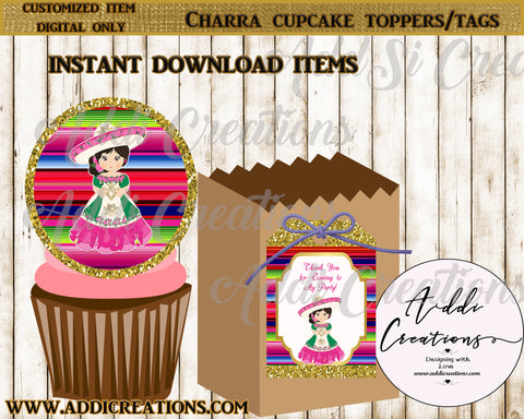 Charra Invitations, Instant Download, Charra Thank You Tags, Digital Charra Cupcake Toppers, 2 in 1 package - Addi Creations