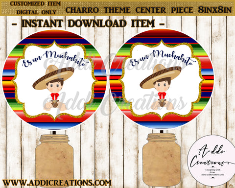 Charro Baby Shower Center Piece, Customized Item, Instant Download File, Charro Theme Printables, Center Piece - Addi Creations