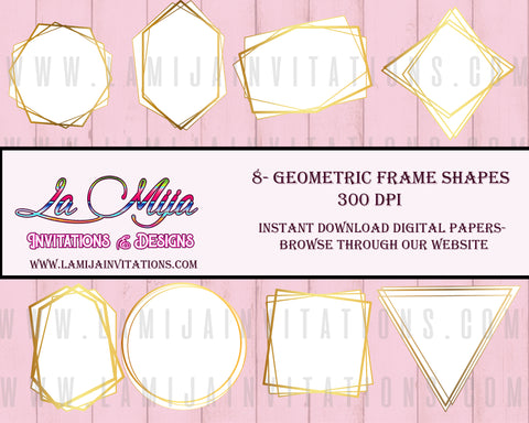 Geometric Frame Clipart, Instant Download, Frame Clipart, Gold Geometric Image Frames, Geometric Digital Frame Clipart - Addi Creations