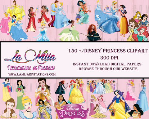 Disney Princess Clipart, Instant Download, Disney Princesses Cliparts, Princess Digital Clipart, Disney Princess Images, Disney Princess Party Invitations - Addi Creations