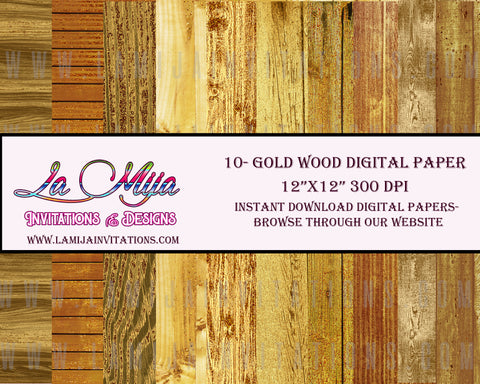 Gold Wood Digital Paper, Instant Download, Wood Digital Paper, wood Background - Addi Creations