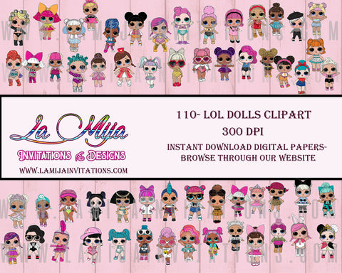 Dolls Clipart, Instant Download, LOL Clipart, Lol Inspired Dolls Clipart, LOL dolls Clipart - Addi Creations