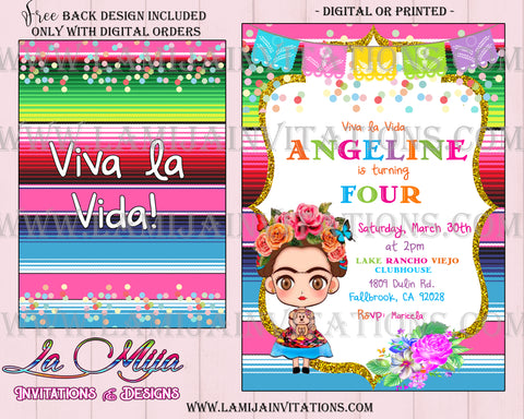 Frida Kahlo Invitations, Customized Item, Frida Kahlo Party Invitations, Frida Kahlo Birthday Invites - Addi Creations