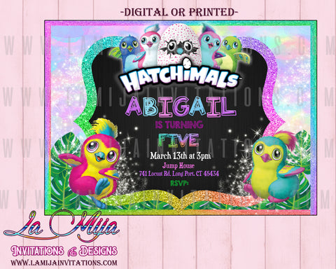 Hatchimal Party Ideas, Customized Item,Hatchimal Invitations, Invitaciones Hatchimal, Hatchimal Birthday Invitations - Addi Creations
