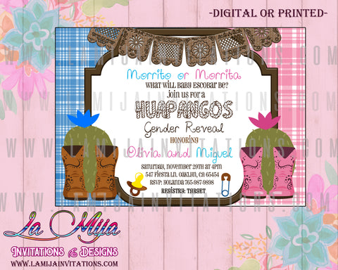 Huapangos Gender Reveal, Huapangos Party Invitations, Huapangos Gender Reveal Invitations, Mexican Gender Reveal Invitations