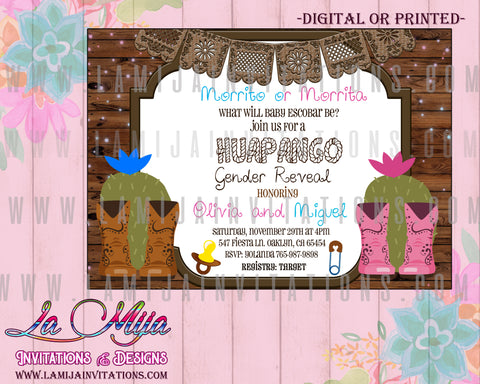 Huapangos Invitations, Huapangos Gender Reveal Invitations, Huapangos Gender Theme