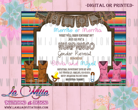 Huapango Gender Reveal Invitations, Mexican Gender Reveal Invitations, Huapangos Gender Reveal Theme