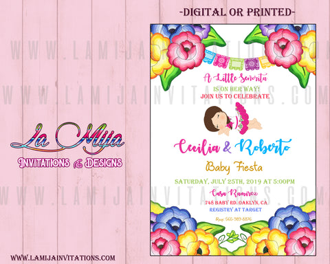 Baby Fiesta Invitations, Customized Item, Mexican Theme Baby Shower Invitations, 16, Charra Baby Shower