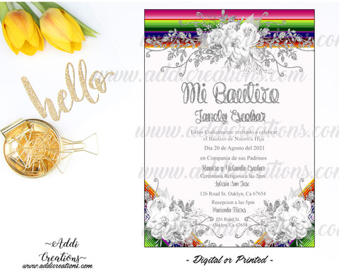 Mexican Theme Baptism Invitations, Customized Item, Mexican Bautizo Invites, Invitaciones de Bautizo Mexicano, Serape Baptism Invitations - Addi Creations