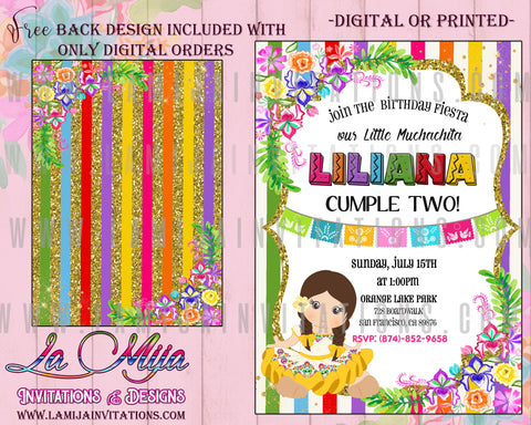 Girl Fiesta Birthday Invitations, Fiesta Birthday Invitations, Floral Fiesta Invite, Mexican Theme Birthday Invitations, Fiesta Party Invitations, Invitationes Fiesta Mexicana