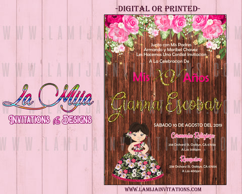 Quinceanera Invitations, Customized Item, Invitaciones de Quince Anos, Rustic Charra Quinceanera Invites - Addi Creations