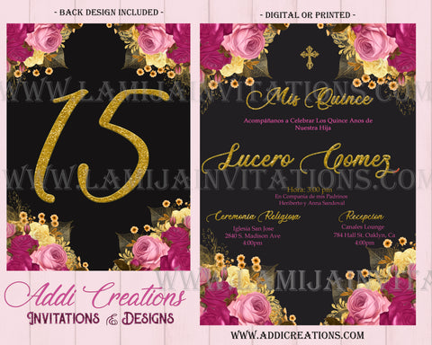 Quinceanera Invitations, Customized Item, Pink Flower Theme Quinceanera Invitations, Gold and Pink Quince Invites, Invitaciones de Quinceanera - Addi Creations