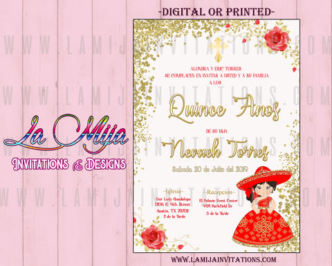 Quinceanera Invitations, Customized Item, Charra Theme Invitations, Mexican Theme Quince Anos Invites - Addi Creations