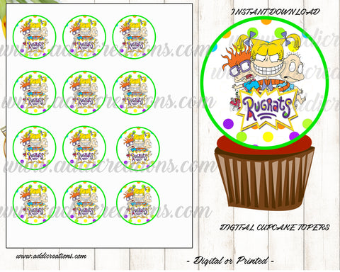 Rugrats Cupcake Toppers, Customized Item, Rugrats Birthday Invites, Rugrats Party Theme Printables, Rugrats Birthday Cupcake Toppers - Addi Creations