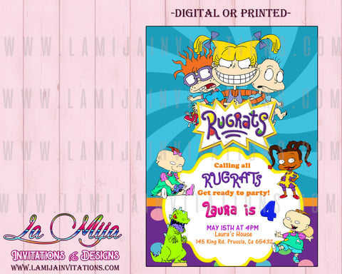 Rugrats Invitations, Rugrats Birthday Invitations, Rugrats Party Invites - Addi Creations