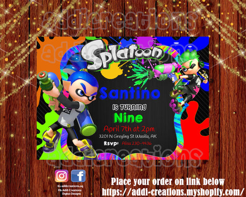 Splatoon Invitations, Splatoon Birthday, 9,Splatoon Party Invitations - Addi Creations