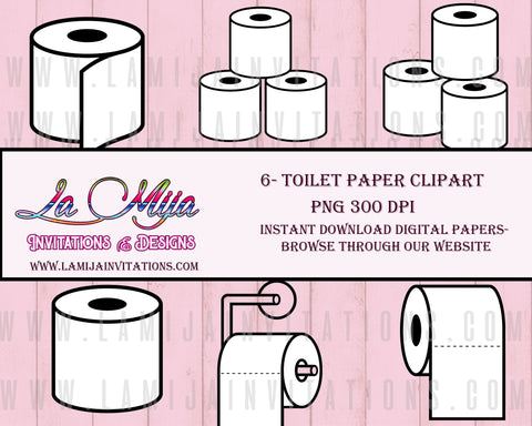 Toilet Paper Clipart, Affordable Clipart, Instant Download, Toilet Paper Digital Image, Toilet Paper Download, Papel Higienico - Addi Creations
