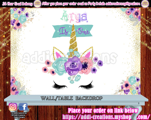 Unicorn Birthday Backdrop, Unicorn Digital Backdrop, Unicorn First Birthday, Unicorn Baby Shower Backdrop - Addi Creations
