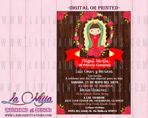 Virgencita Baptism Invitations, Customized Item, Viregn de Guadalupe Bautizo Invitations, Virgencita Invitations - Addi Creations