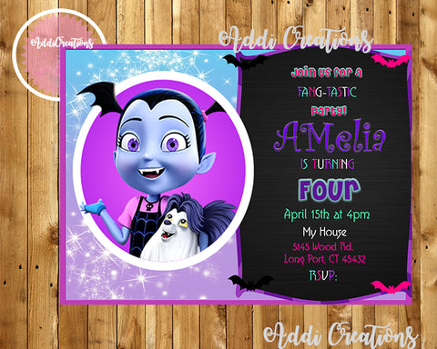 Vampirina Invitations,Vampirina Birthday Invitations, Disney Vampirina, Invitaciones Vampirina - Addi Creations