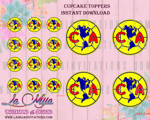 Club America Birthday Invitations, INSTANT Download Cupcake Toppers, Print Yourself, Club America Party, Fiesta Tema Club America