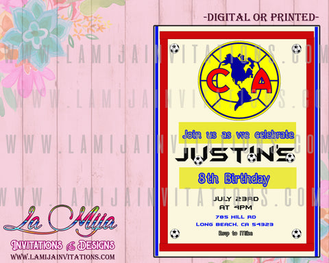 Club America Invitations,  Customized Item, Club America Party Invites, Club America Birthday Party Ideas, Invitaciones Club America