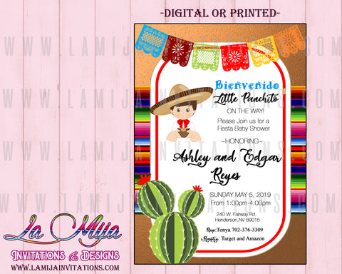Baby Fiesta Invitations, Customized Item,  Mexican Baby Shower Invitations, Fiesta Baby Shower Invitations, Boy Baby Shower Fiesta Invites, Invitaciones Baby Shower Mexicano - Addi Creations