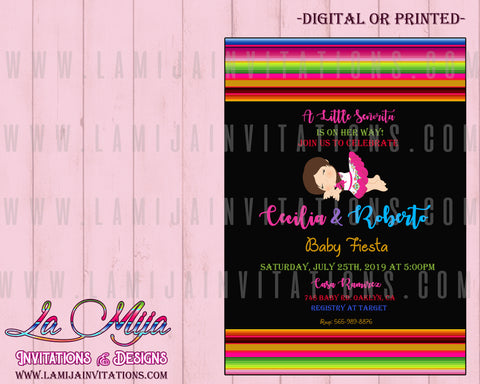 Baby Fiesta Invitations, Customized Item, Mexican Theme Baby Shower Invites - Addi Creations