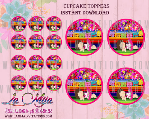 Instant Download Mexican Baby Shower Toppers, Mexican Baby Shower Cupcake Toppers, Printable Mexican Shower Toppers, Baby Fiesta Cupcake Toppers