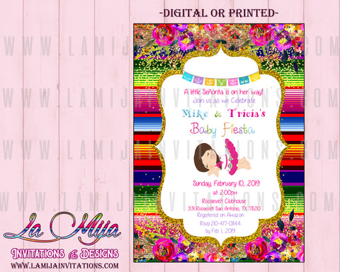 Baby Fiesta Invitations, Customized Item, Girl Mexican Baby Shower Invitations, Invitaciones Baby Shower mexicano - Addi Creations